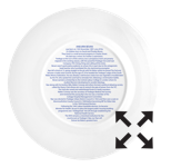 Text printed on the back of a bone china plate