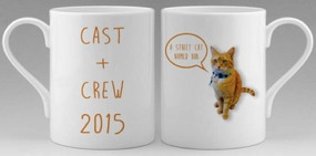 Bone china mugs printed for the cast and crew